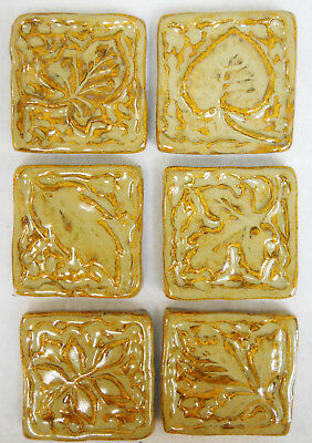 LEAF TILES Handmade Ceramic Stoneware Mosaic Tiles Craft Tiles BrownTones Set/ 6