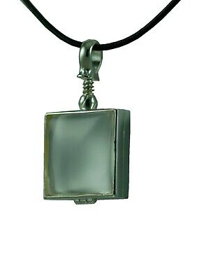 Memorial Necklace Glass Sterling Silver Square Locket Jewelry WITH CHAIN - Memorial Glass
