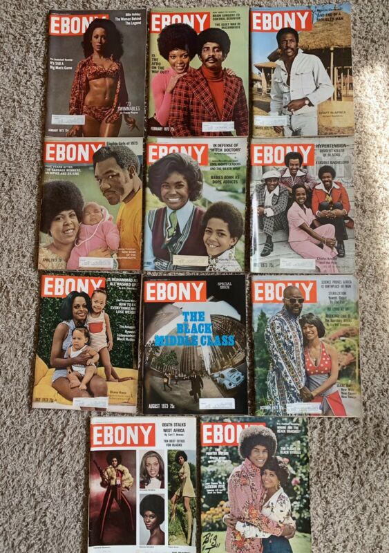 1973 Ebony Magazine Lot of 11 Isaac Hayes, Diana Ross, Special Issue (C)