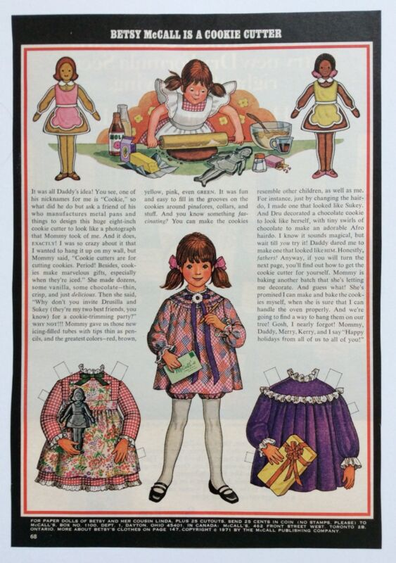 Betsy McCall Mag. Paper Doll, Betsy McCall Is A Cookie Cutter, Dec. 1971