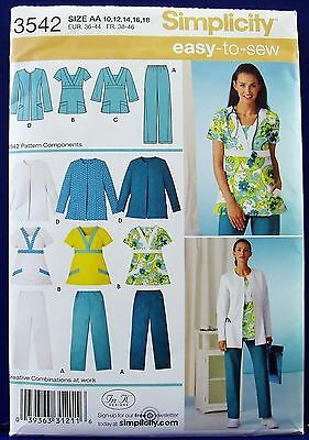Simplicity Scrub Pants Top Jacket Sewing Pattern Misses 10,12,14,16,18 3542