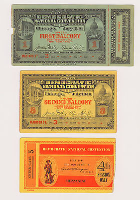 3 Different 1940s Democratic Convention Tickets