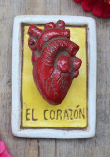 Clay Loteria #27 El Corazon - Heart by Rafael Pineda Mexican Board Game Folk Art