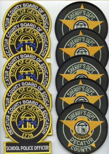 DECATUR COUNTY GEORGIA Trade Stock 10 Police Patches BOE & SHERIFF POLICE PATCH