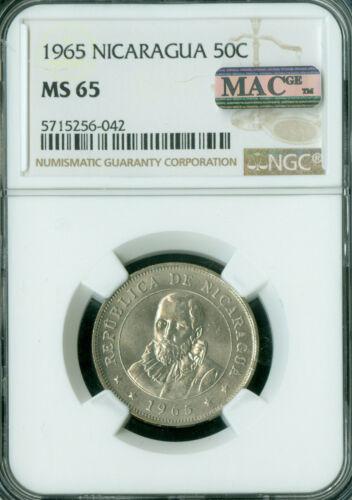 1965 NICARAGUA 50 CENTAVOS NGC MS-65 PQ FINEST GRADE MAC SPOTLESS  *