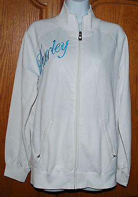 Junior Ladies Track Jacket (Hurley Track Jacket Ladies / Juniors Small White Aqua Blue Logo Zip Trendy NWOT )