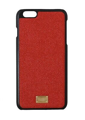 NEW $180 DOLCE & GABBANA Phone Case Orange Shiny Leather Gold Logo iPhone6 Plus