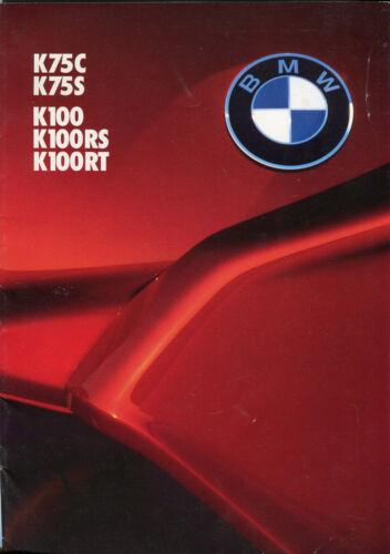BMW K75C K75S K100 K100RS K100RT 1986 English text sales brochure