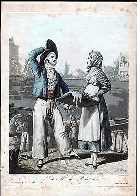 Fischhändlerin - sehr schöne kolorierte Aquatinta 1820 - Original!! Fischhandel