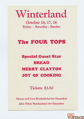 Winterland San Francisco Handbill 1970 Oct 16 The Four Tops Joy of Cooking