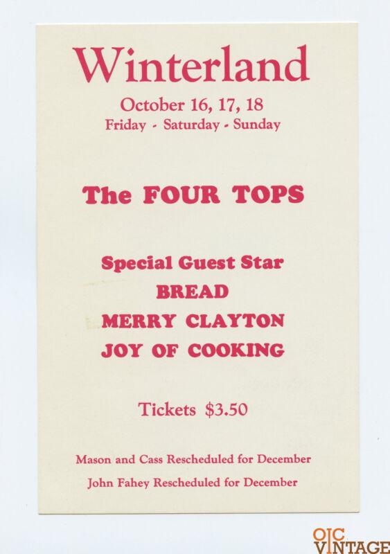 The Four Tops Handbill Joy of Cooking 1970 Oct 16 Winterland San Francisco