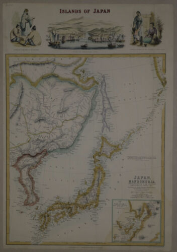 1860 Genuine Antique map Japan, Islands of Japan. Corea. Detailed. A Fullarton