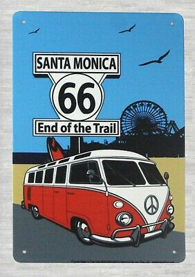 US Seller- home goods decor Santa Monica 66 End of the trail tin metal sign