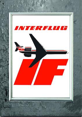 DDR Interflug Poster Plakat A3 Ostalgie Fluggesellschaft GDR Flugzeug  online kaufen