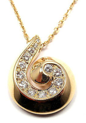 Authentic! VAN CLEEF & ARPELS Breeze 18k Yellow Gold Diamond Swirl Necklace