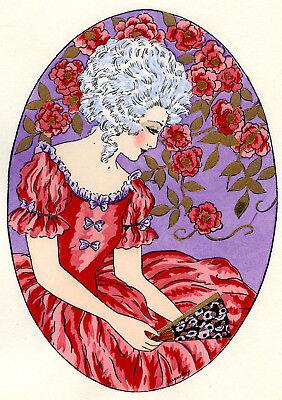 1930s French Pochoir Print Young Woman White Hair Fashion Roses Fan Jacquelyn L