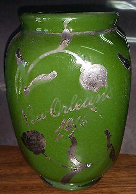 Rex 1916 New Orleans Mardi Gras Krewe Favor E6706 Green Vase Silver Inlayed