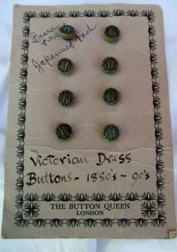 "Set/Lot of 8 Brass & Metal Japanned Back Victorian Dress Buttons-1/4""-1880"