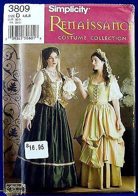Simplicity Renaissance Historical Costume Dress Sewing Pattern Misses 4,6,8 3809