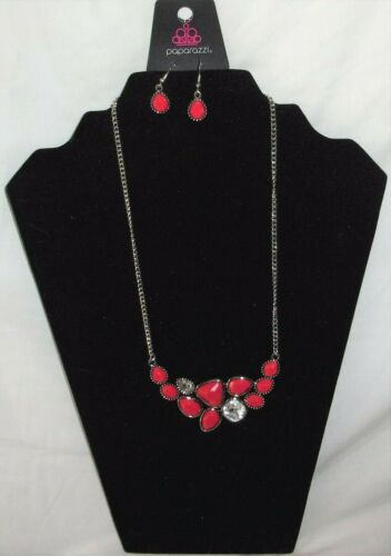 New Beautiful Paparazzi Jewelry Breathtaking Brilliance Red Necklace Earring Set