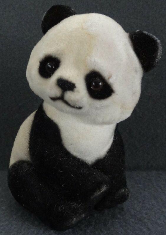 """Panda Coin Bank Japanese Flocked Velvet Japan 6"""" Bear VTG Sitting Fuzzy Piggy"""