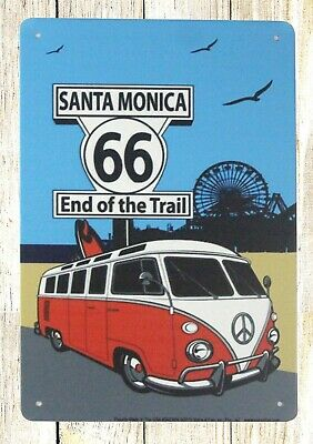 US SELLER- Santa Monica 66 End of the trail tin metal sign interior decorating