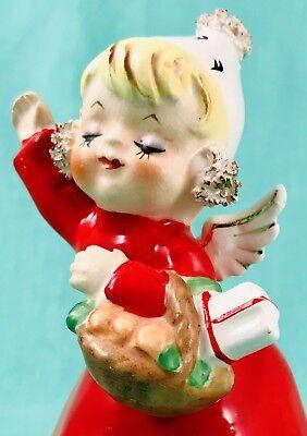 MERRY CHRISTMAS! 🎄 Cute Girl Bell Figurine Goodie Basket Earmuffs Gift Napco ()