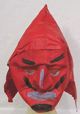 Vintage Halloween 1950s Gauze Devil Mask with Vinyl Head Covering