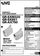 JVC GR-AX750, GR-SX851, GR-SXM320 camcorder nstruction