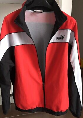 Puma Track Jacket Mens Lightweight Mesh Lined Top Zip Mock Neck Size M