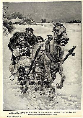 eihnachts-Abend ( Wierusz Kowalski ) Dekorative Graphik 1900 (Dekorative Schlitten)