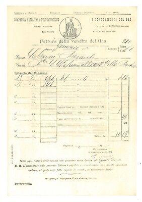 COMPAGNIA NAPOLITANA D'ILLUMINAZIONE SCALDAMENTO CON GAS 12 FATTURA 1912 NAPOLI