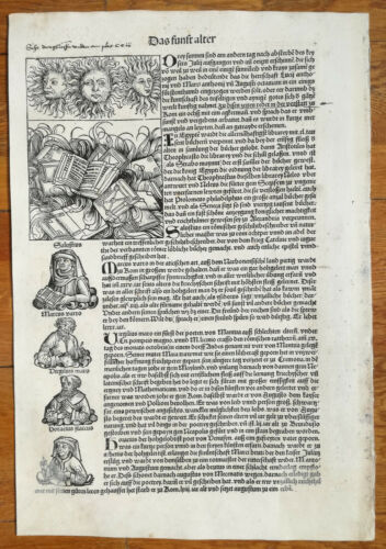 Incunable Leaf Schedel Liber Chronicorum 3 Suns Books Burning Augsburg 1493