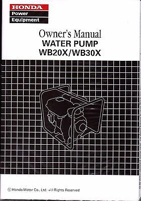 PRINTED 2009-2010 HONDA WATER PUMP WB20X & WB30X OWNERS MANUAL (207)