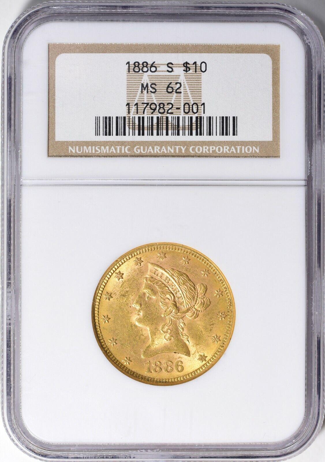 1886-S LIBERTY HEAD EAGLE $10 GOLD NGC MS62