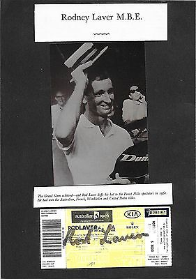 ROD LAVER - HAND SIGNED 'AUSTRALIAN OPEN' TICKET WITH PHOTO IMAGE OF LAVER