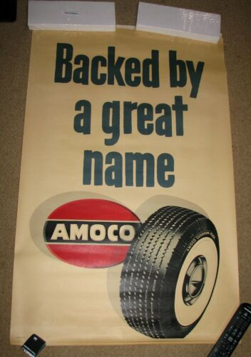 Original AMOCO Tires American Oil Company Gas Oil Advertising Poster - Torn Some