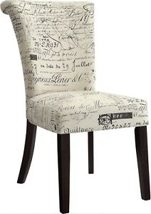 French Script Accent Dining Chairs (4)