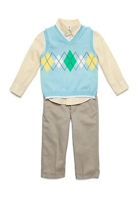 IZOD® Toddler Boys' 3T, 4T Light Blue Sweater Vest 3-piece Pants Set NWT $62 ()