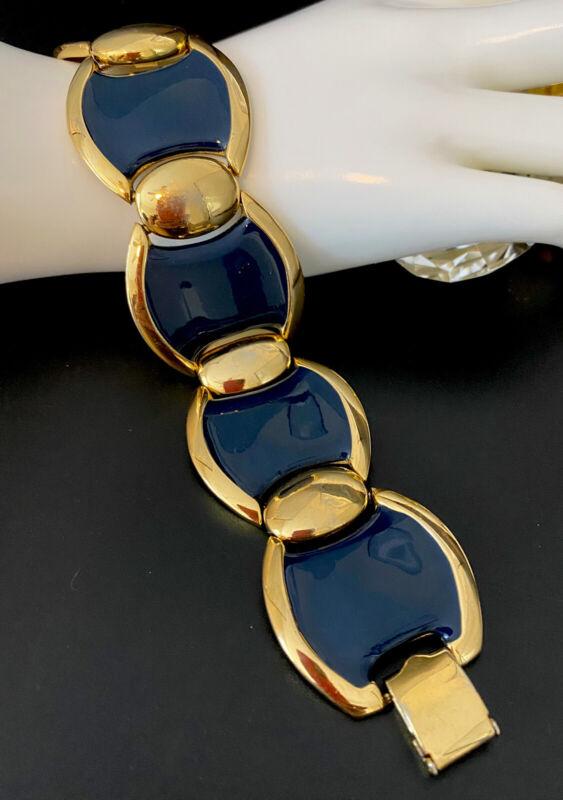 Vintage NAPIER Gold Tone Wide Panel Chunky Navy Blue Enamel Statement Bracelet