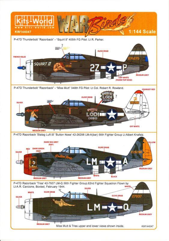 Kits World Decals 1/144 REPUBLIC P-47D THUNDERBOLT Fighters Part 2