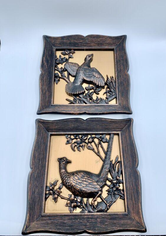 2 Vintage Dart 3D Framed Birds Wall Plaque Art Gold Brown B 4660