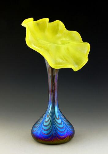Glamorous Art Nouveau Art Glass Jugendstil Iridescent Bohemian Vase Tall 13