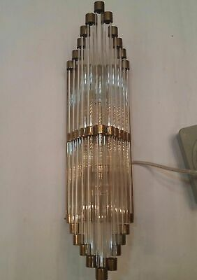 Antique Old Vintage Art Deco Brass & Glass Rod Ship Light Wall Sconces Lamp](Deco Wall Sconces)