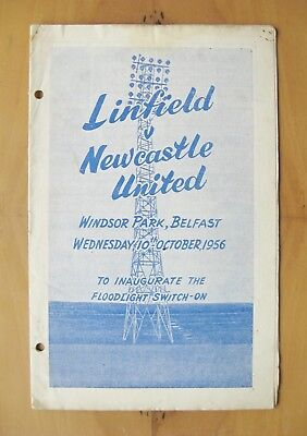 LINFIELD v NEWCASTLE UNITED Friendly 1956/1957 Opening Of Floodlights Good Cond