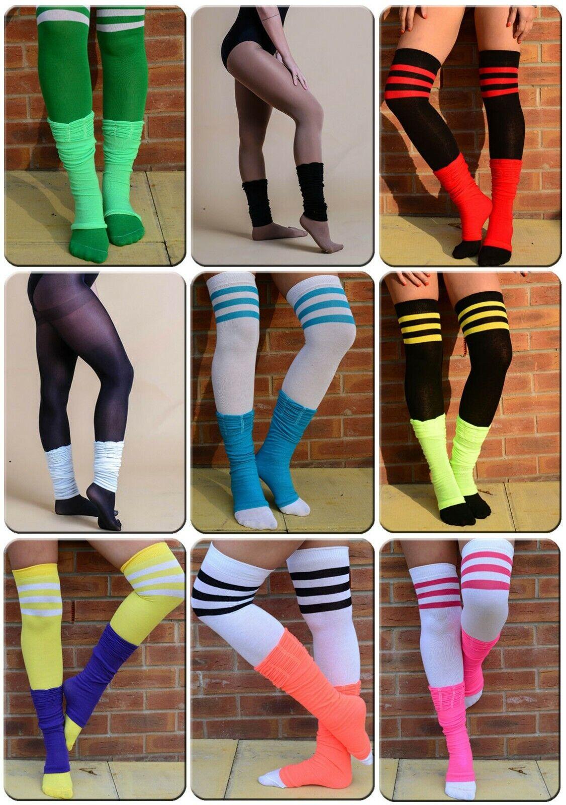 Girls Womens Plain Grey Legwarmers 80s Fancy Party Dance Rave Ballet Leg Warmer