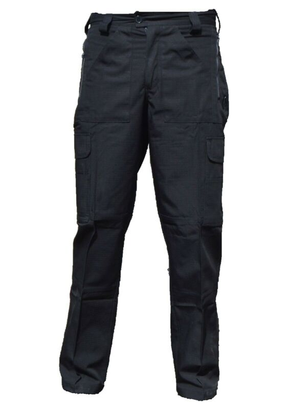Black Ripstop Tactical Cargo Trousers Male R3UA
