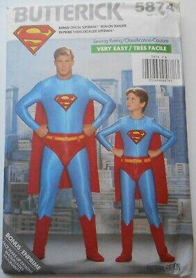 Superman Costume Pattern (NIP Butterick Costume Pattern #5874 SUPERMAN Men's Sizes XS-L Includes Iron on)