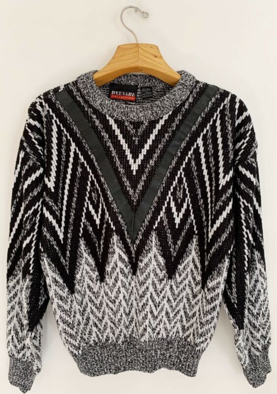 Vintage D'CESARE Mens Sweater XL Black White Genuine Leather Detail Crew Neck