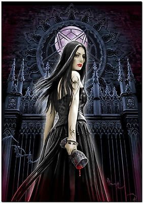 Beautiful Gothic Girl Challis pentagram Art Canvas Print 14X20 Poster Photo - Gothic Girl